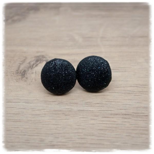 1 Paar Glitzerohrstecker 16mm in schwarz (wahlweise als Ohrclips)