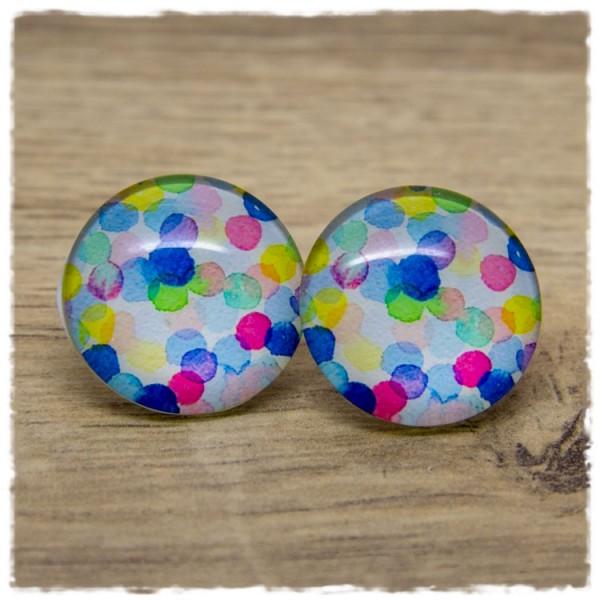 1 Paar Ohrstecker in 25 mm mit bunten Punkten