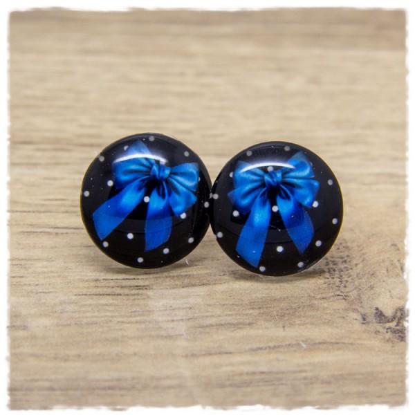 1 Paar Ohrstecker mit blauer Schleife auf schwarz weißem Hintergrund