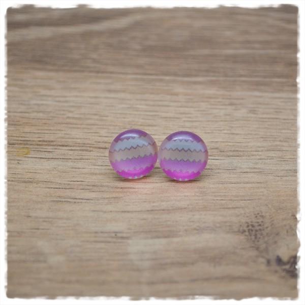 1 Paar Ohrstecker in 12 mm rosa gezackt