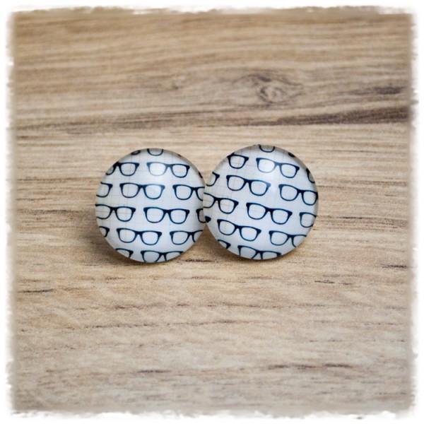 1 Paar Ohrstecker in 20 mm mit Brillen auf beigem Hintergrund (wahlweise als Ohrclips)