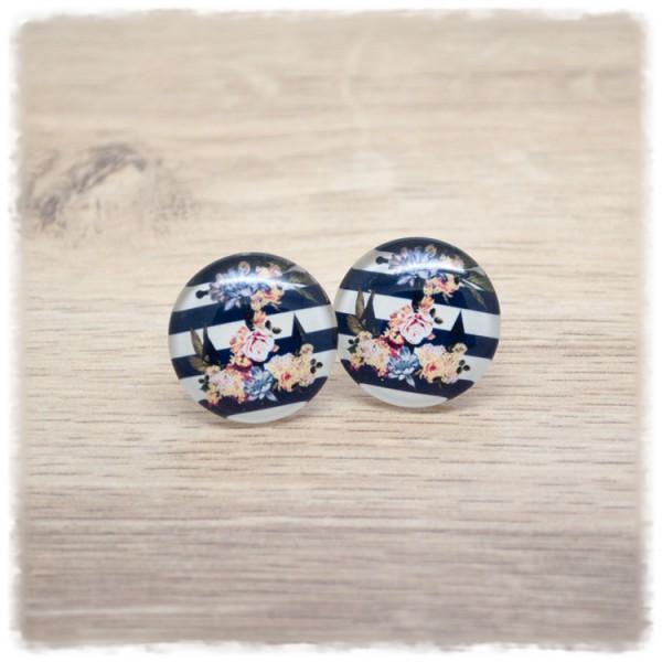 1 Paar Ohrstecker 12mm mit Blüten und Anker auf schwarz weißen Streifen