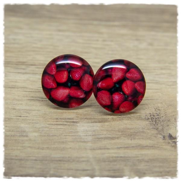 1 Paar Ohrstecker in 20 mm mit roten Beeren