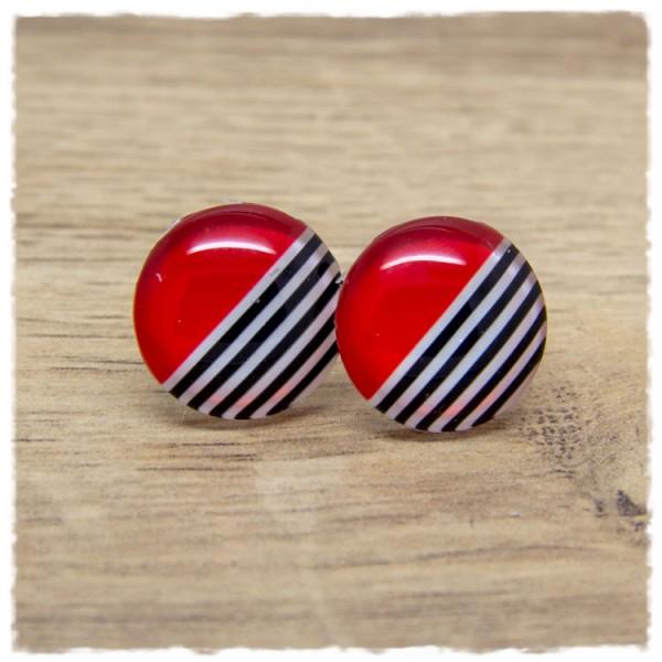 1 Paar Ohrstecker rot mit schwarzen und weißen Streifen